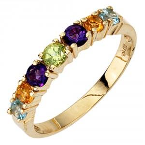 Damenring 333/-Gold mit Mineraledelsteinen