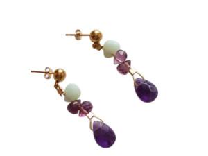 Ein paar Amethyst und Amazonit Ohrringe in 14k (585) Gold aus unserem Sortiment