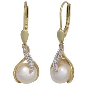 Gelbgold Boutons mit Brillanten und Perlen