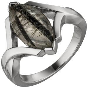 Damen Ring 925 Sterling Silber mit Turmalinquarz Navette