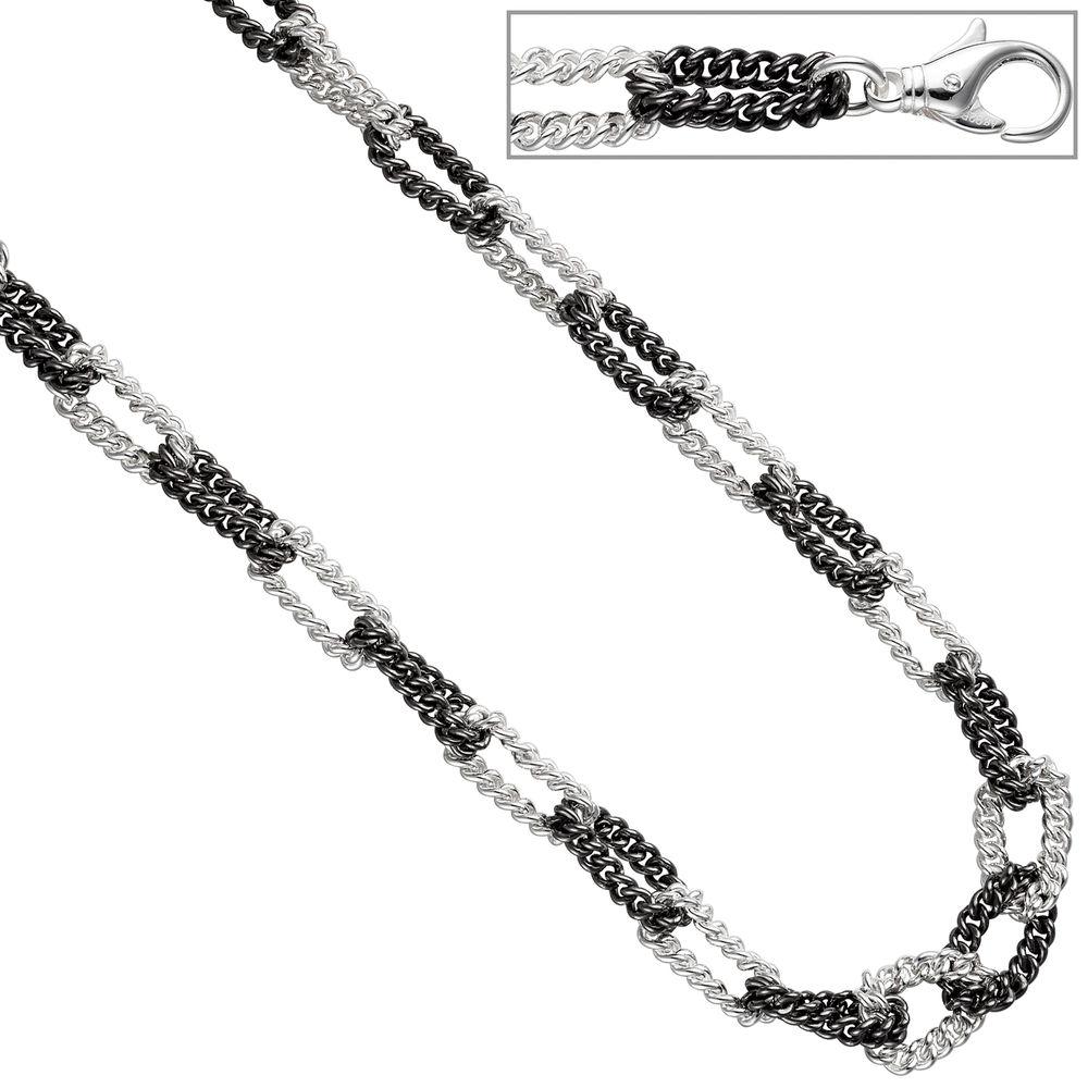 Collier Panzerkette 925 Sterling Silber schwarz teilrhodiniert bicolor 8,0  mm 46 cm ッ Ketten ッ Juwelier-Shop24.com 400180ca00