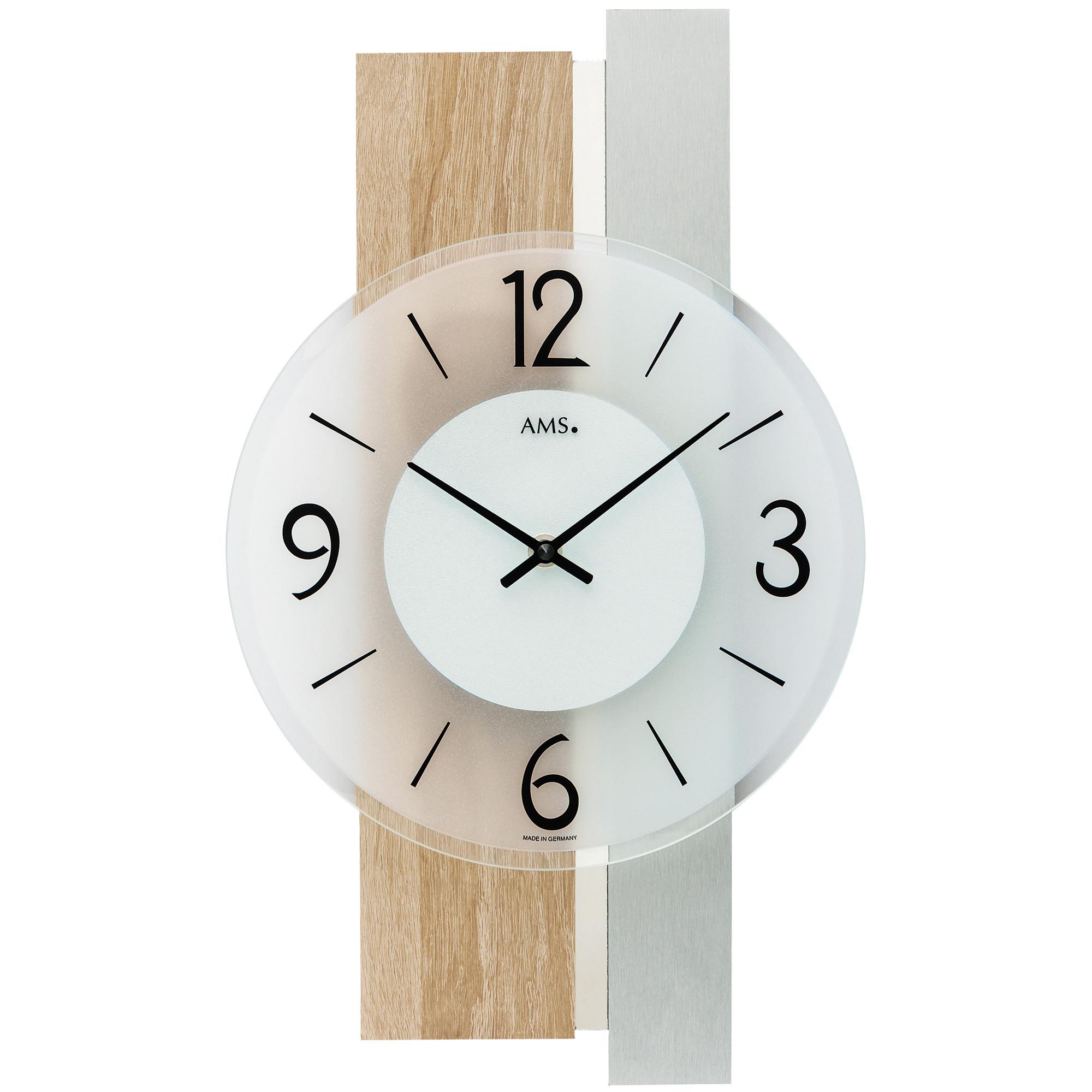 NEU Designer Wanduhr AMS Schiefer Uhr Holzgehäuse Aluminium-Auflagen schwarz