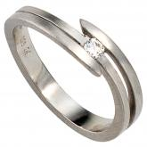 Damen-Ring 950 Platin mattiert mit Diamant-Brillant 0,09ct.