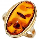 Damen Ring 9k (375) Gelbgold  mit Bernstein orange