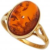 Damen Ring 9k (375) Gelbgold mit Bernstein orange oval