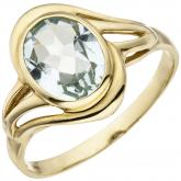 Damen Ring 585 Gelbgold mit Aquamarin oval