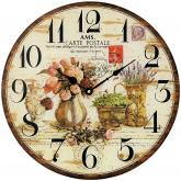 "AMS Quarz Wanduhr ""Carte Postale"" in Holz-Optik Design Provence"