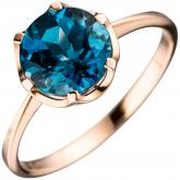 Damen Ring 14k (585) Rotgold mit Blautopas London Blue Solitär 10,1 mm | Edelsteine
