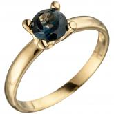 Damen Ring 585 Gelbgold mit Blautopas London Blue Solitär-Stil