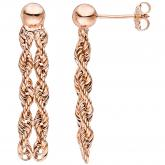 Ohrstecker 375 Rotgold Duo-Kordel-Design | Rosé- und Rotgoldschmuck