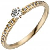 Damen Ring 585 Gelbgold mit 15 Brillanten 0,25 ct.
