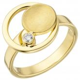 Damen Ring 585 Gelbgold mit Brillant 0,06 ct. Sun-Optik