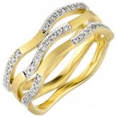 Damen Ring 585 Gelbgold matt Wellenform mit 42 Brillanten 0,18 ct. | Bicolor Schmuck